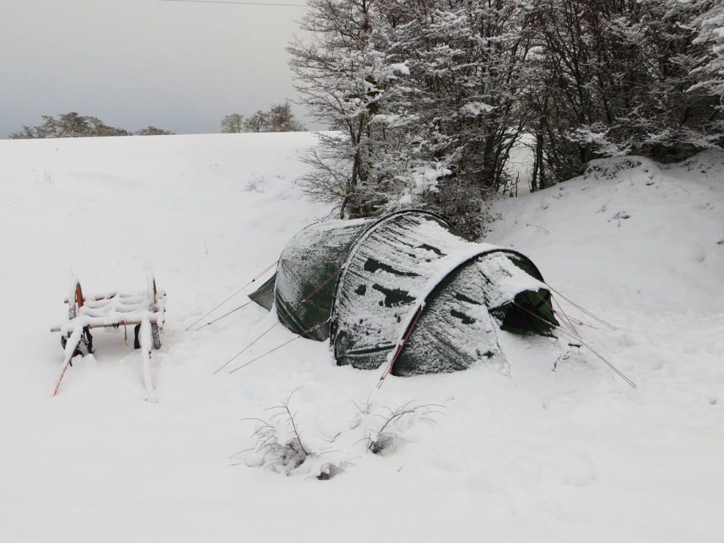 Camping in the snow in southern Chile