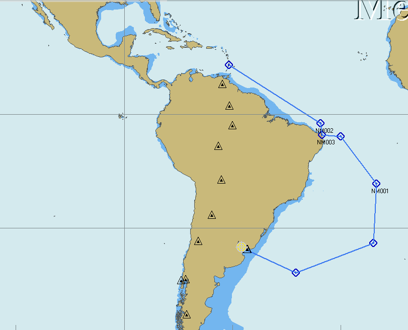 Our 6000nm route from Uruguay to the Caribbean following traditional trading routes for favourablecurrents & wind