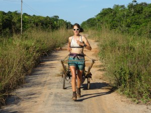 Running the 'Jaguar Road' in the Amazon where both Katharine & David pulled trailers due to the extra 100kg of food they needed to lug during the remote 3 week section